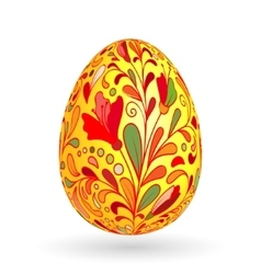 Colorful easter yellow egg with ornate doodle vector