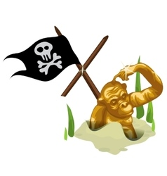 Golden monkey in sand and mast with pirate flag vector