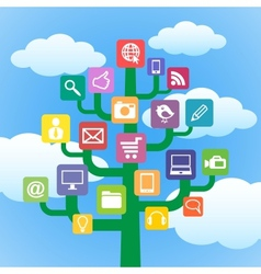 Tree with icons gadgets and computer symbols vector
