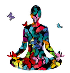 Abstract woman silhouette in yoga pose with vector