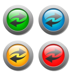 Arrow icon set on glass buttons vector image