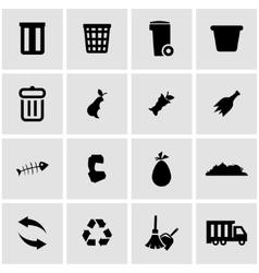 black garbage icon set vector image
