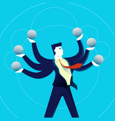 Business multitasking man concept vector