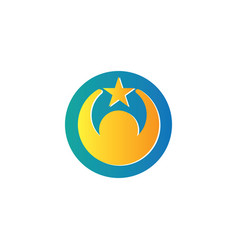 Circle human star logo vector