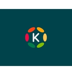 Color letter k logo icon design hub frame vector