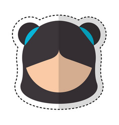 Cute japanese doll head vector