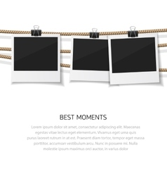 Enjoy every moment set of photo hanged on vector