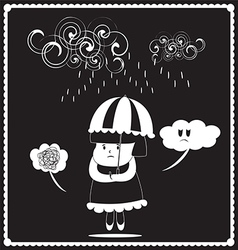 Girl in the rainy day vector