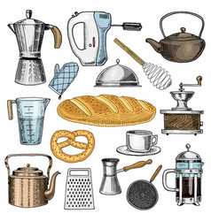 Grater and whisk frying pan coffee maker or vector