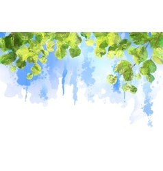 Green leaves tree branches watercolor vector image vector image