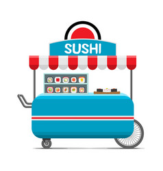 japanese sushi food cart colorful image vector image vector image