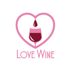 love wine glass cup heart image vector image