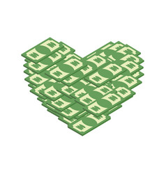 Money heart i love cash i like dollars vector