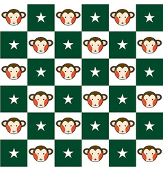 Monkey star green white chess board background vector