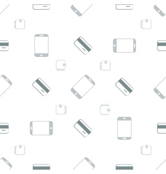 Seamless pattern with phones and cards vector image