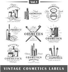 Set of vintage cosmetics labels logos vector