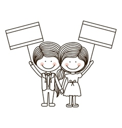 Silhouette couple kids boy holding poster vector