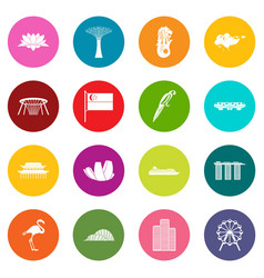 Singapore icons many colors set vector