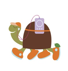 Spotry turtle with player vector image vector image