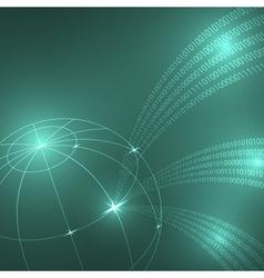 Stream of binary code to the globe vector image