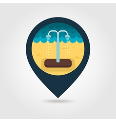 Summer beach pool shower pin map icon Vacation vector image vector image