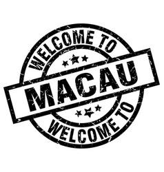 welcome to macau black stamp vector image vector image
