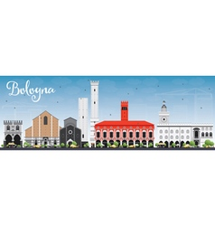 Bologna skyline with landmarks and blue sky vector