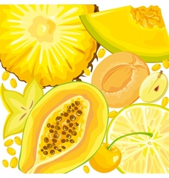 Mix yellow fruits and berries vector image