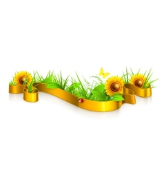Ribbon in the grass vector