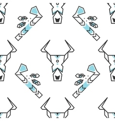 Seamless pattern with stylized buffalo skull and vector