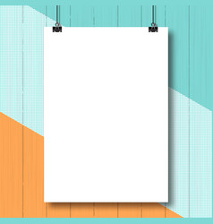 Mock-up vertical poster white a4 paper sheet vector