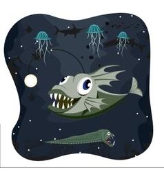 Deep water angler fish with marine life vector image