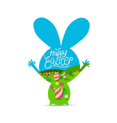 happy easter with eggs landscape vector image