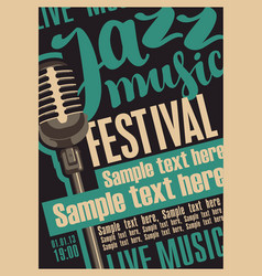 retro poster for the jazz festival with microphone vector image
