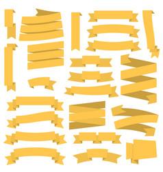 Yellow ribbons set vector