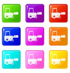 Truck to lift cargo set 9 vector