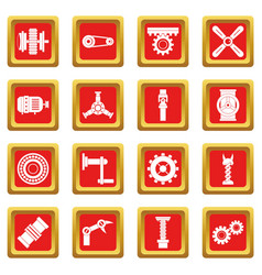Techno mechanisms kit icons set red vector