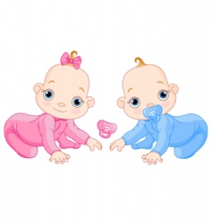 cute creeping twins vector image