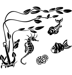 Underwater world stencils vector