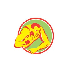 Shot put track and field athlete retro vector
