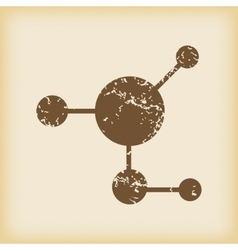 Grungy molecule icon vector