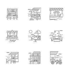 Cafe and bungalows linear icons set vector