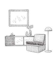 Place for reading with chair sketch vector