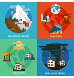 Natural disaster 4 flat icons set vector