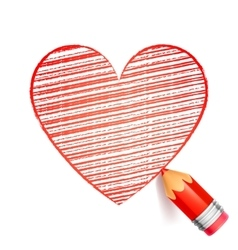 Red Pencil and Heart Drawing vector image