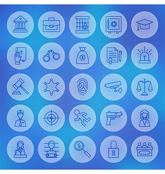Line circle law and justice icons set vector