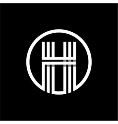 H capital letter of three white stripes enclosed vector