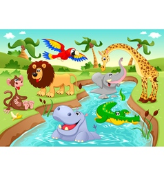 African animals in the jungle vector image vector image