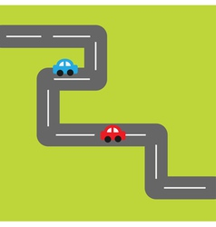 Background with square road and cartoon cars vector image