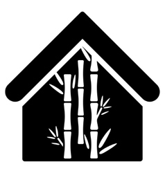 Bamboo house flat icon vector